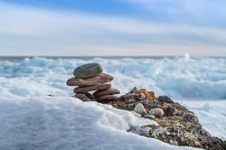 Inukshuk on Lake Superior. Winter 2020