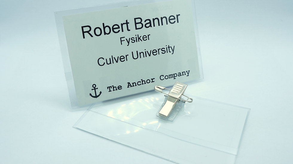 Name badges with clip and safety pin