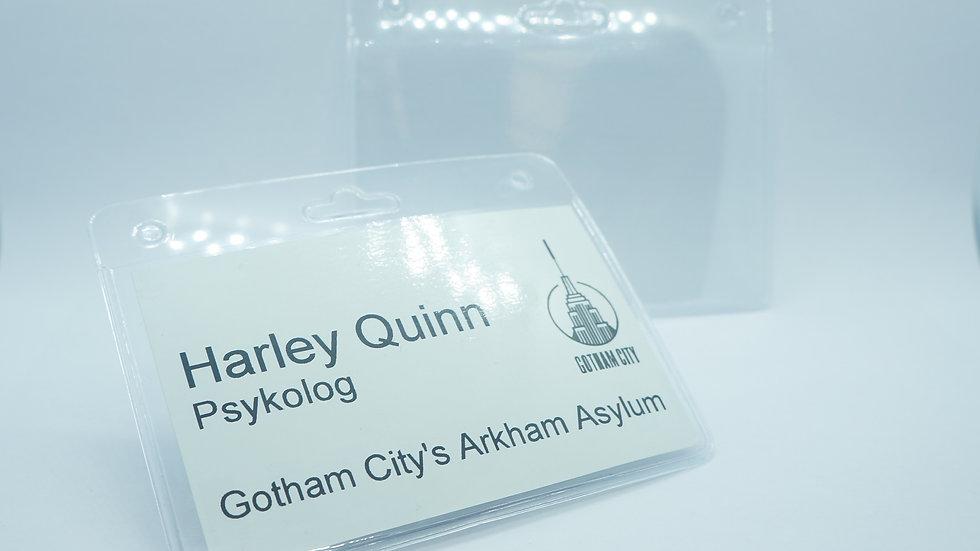 Plastic badge for lanyard
