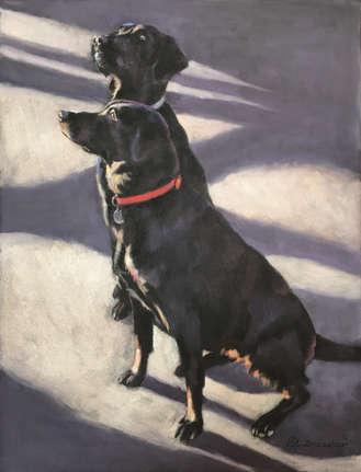 Black Labradors Pastel Painting