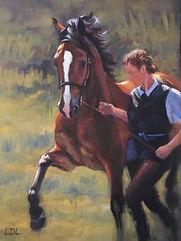 Welsh Cob Stallion and handler pastel painting