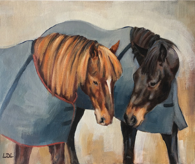Two Horses in Oil