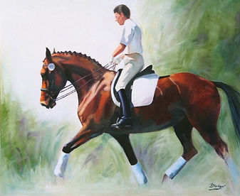 Bay Dressage Horse and Rider Oil Painting