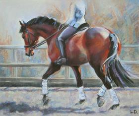 Bay Dressage Horse Schooling Pastels.jpg