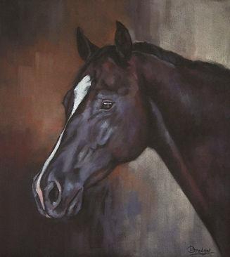 Black Horse Portrait Painting