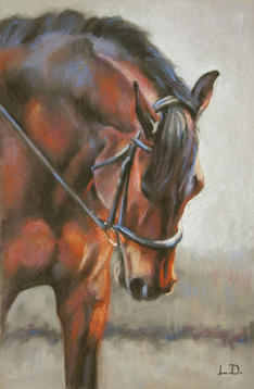 Stretch Down - Bay Dressage Horse Pastel Painting