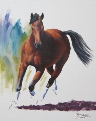 Bay Horse Trotting
