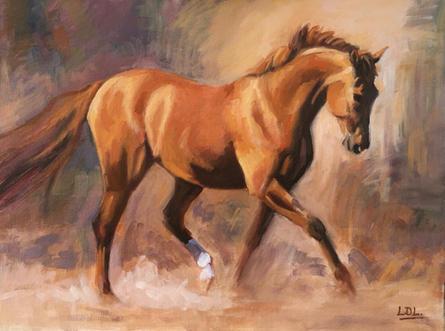 Elegant - Chestnut Horse Trotting Oil Painting