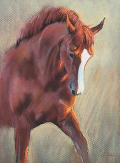 Backlight - Chestnut Holsteiner Horse Pastel Painting