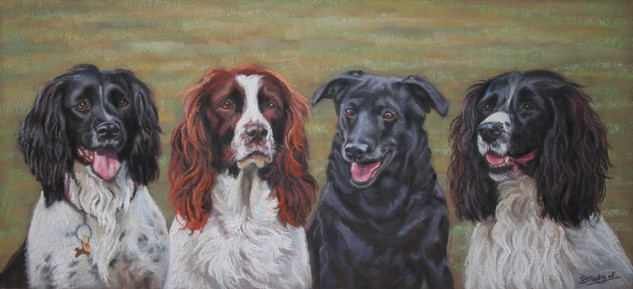 Four Dogs pastel painting