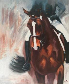 Half Pass - Dressage Horse Oil Painting
