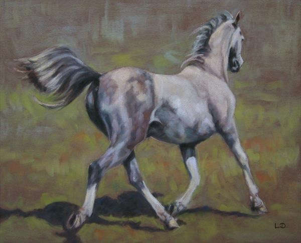 Grey Arab Trotting Pastel Painting