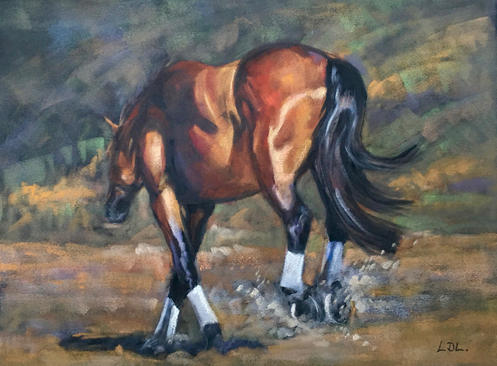 Bottoms Up! - Pastel Horse Painting