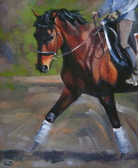 Bay Horse and Rider Dressage Oil Painting