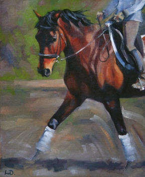 Schooling Session - Dressage Oil Painting