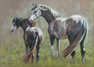 Grey Horses in Field painting