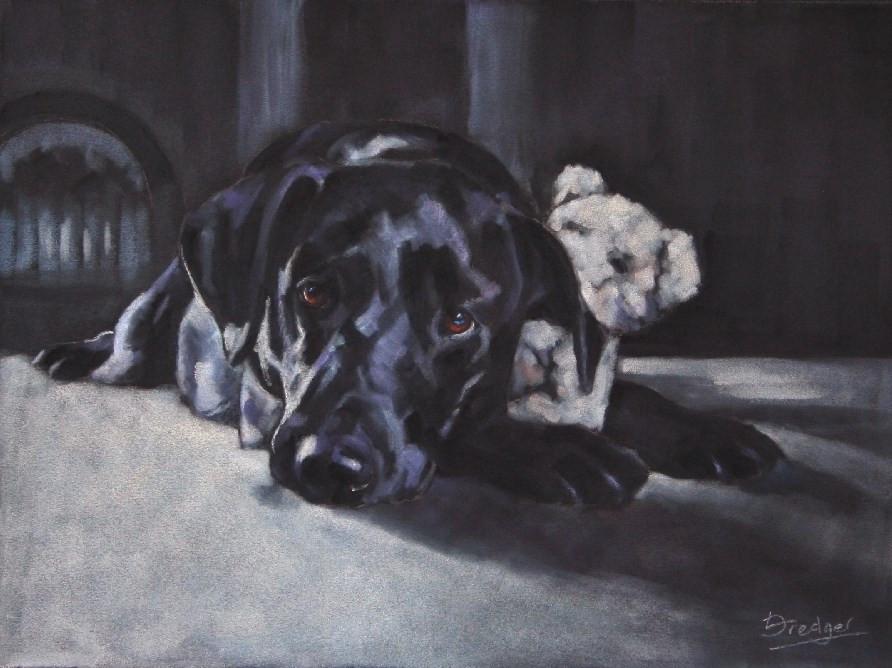 Commissioned pastel portrait in pastel of a Black Labrador