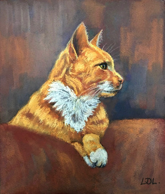 Ginger and White Cat pastel painting