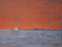 Sunset at Mersea pastel abstract