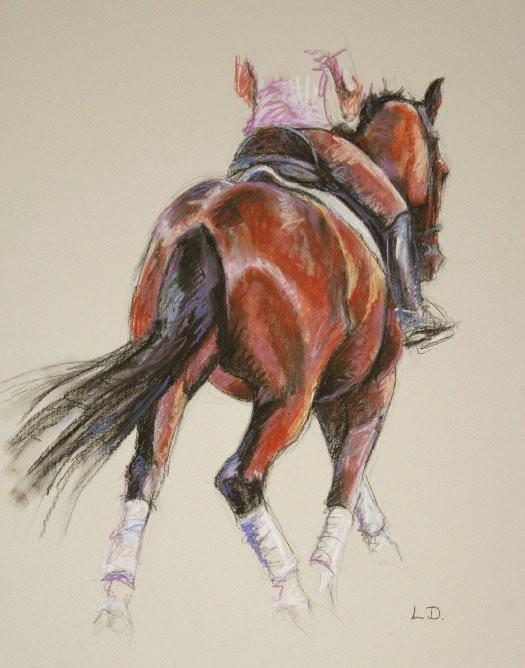 Dashing Away - Bay Dressage Horse Painting