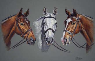 Three Horses Pastel Portrait