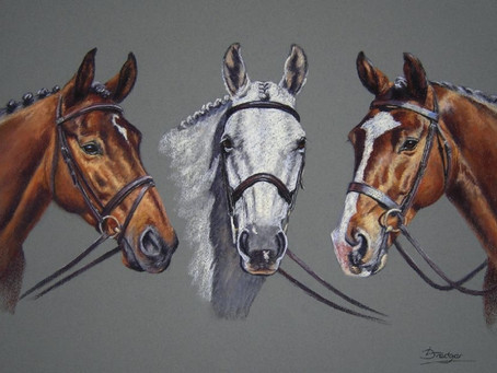 Three Horse Pastel Portrait