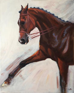 Bay Horse Spanish Walk Oil Painting