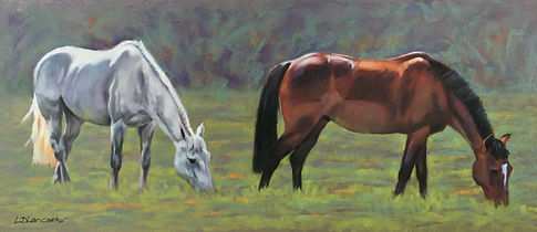 Grey and Bay Horse Pastel Painting