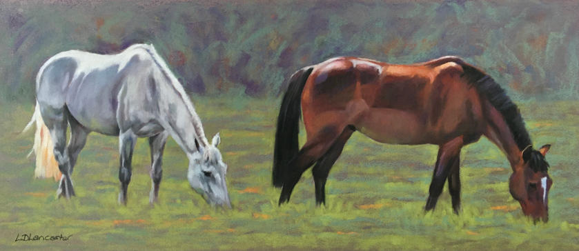 Grey horse and Bay pony pastel painting
