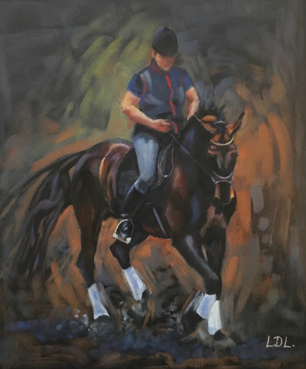 Dressage Horse and Rider Pastel Painting