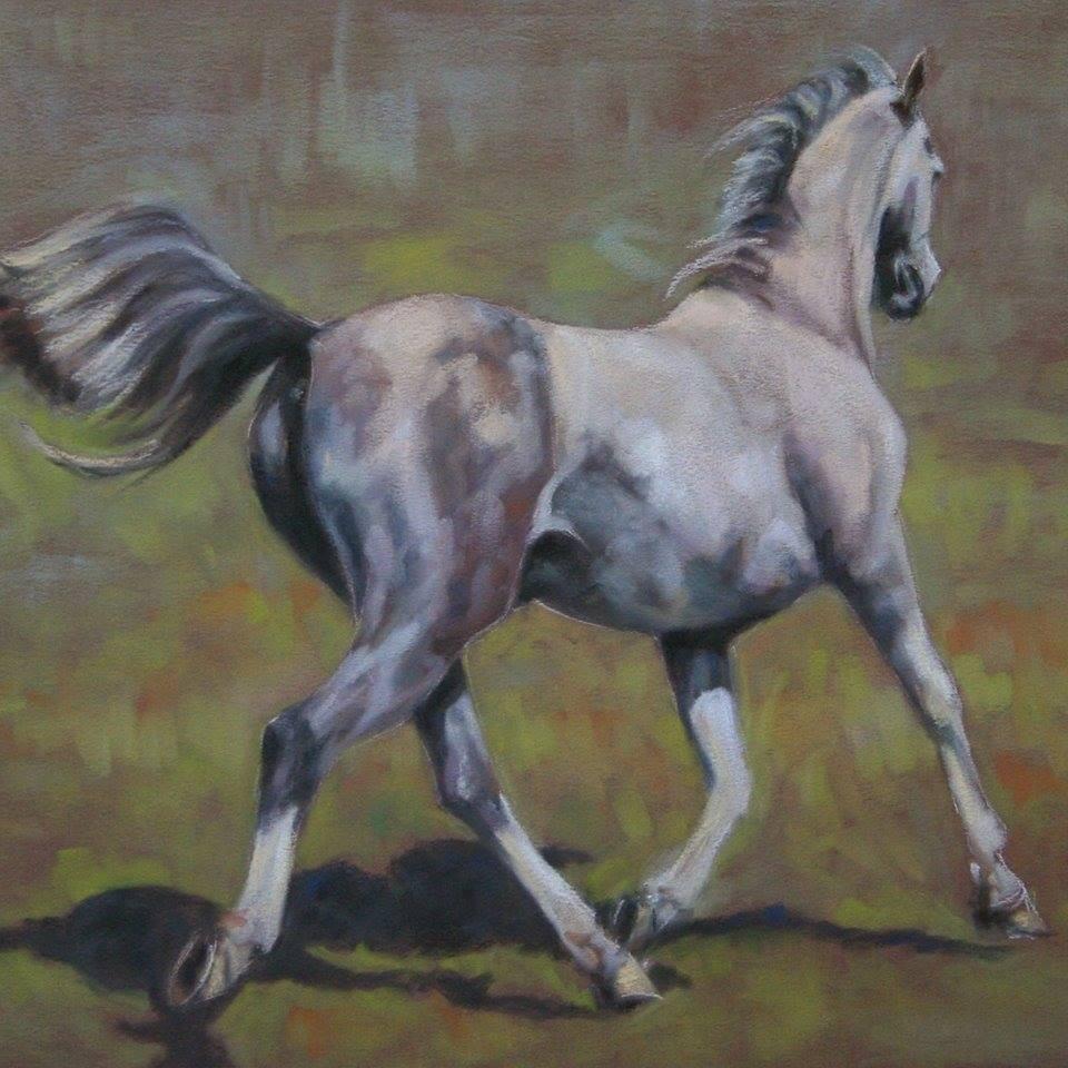 Grey Arab Horse trotting pastel painting