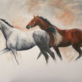 Grey and Bay Horses in Oil