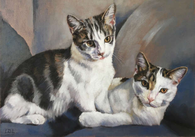 Tabby and White Cats Pastel Painting