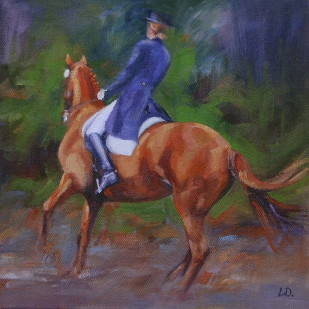 Chestnut Dressage Horse Oil Painting