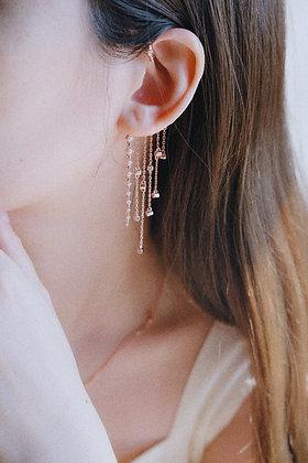 Twinkle long drop ear cuff earring