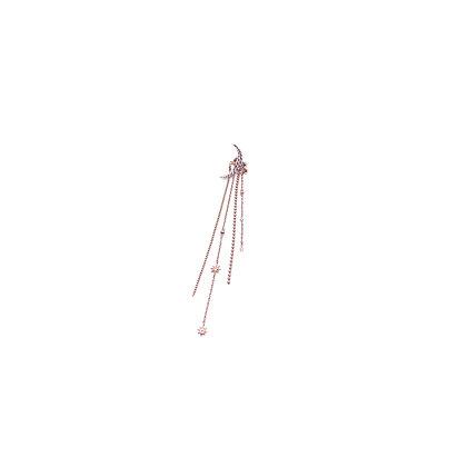 Moonlight stud & long drop single earring