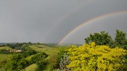 Double rainbow over Asti seen from balcony