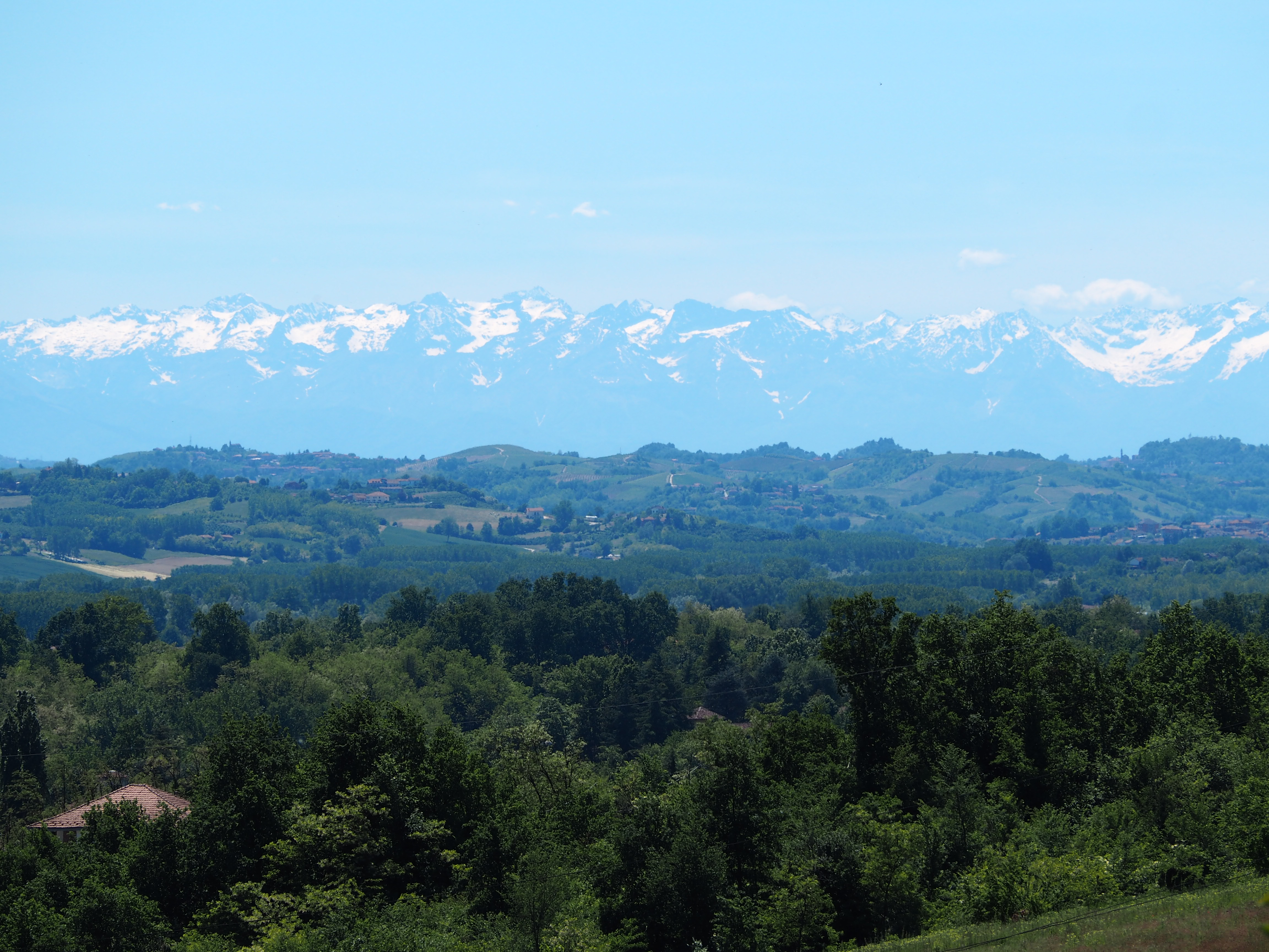 View of Alps from balcony