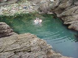 Woody Bay, a favourite swimming spot