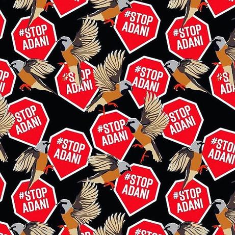 Black Throated Finch #StopAdani textile design