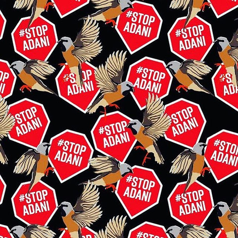 Black Throated Finch #StopAdani textile design