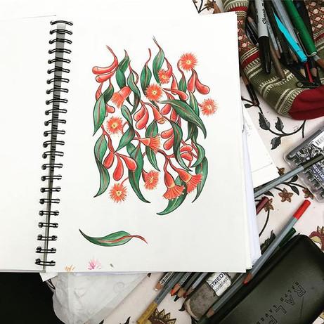 Gum blossom textile design