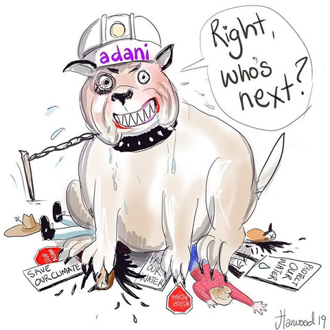 "Adani's ""attack dog"" lawyers cartoon"