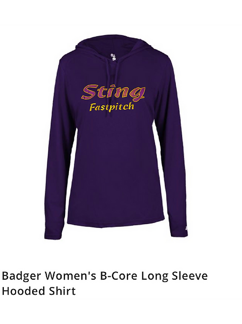 Badger Women's B-Core Long Sleeve Hooded Shirt