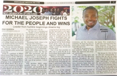 Michael Joseph has been selected as a 2020 Miami Times New Generation of Dreamers