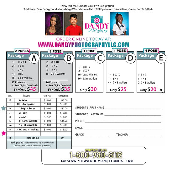 CHARTER School PRICELIST PrePay Flyer Pr