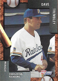 charleston rainbows 1992 minor league baseball card player Dave Trembly manager