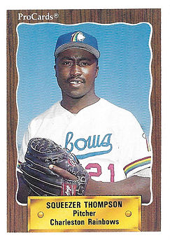 1990 charleston rainbows minor league baseball player Squeezer Thompson Pitcher