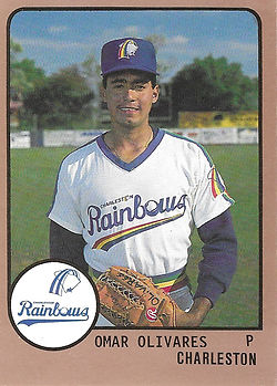 1989 charleston rainbows minor league baseball Omar Olivares Pitcher