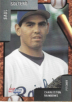 charleston rainbows 1992 minor league baseball card player Saul Soltero Pitcher